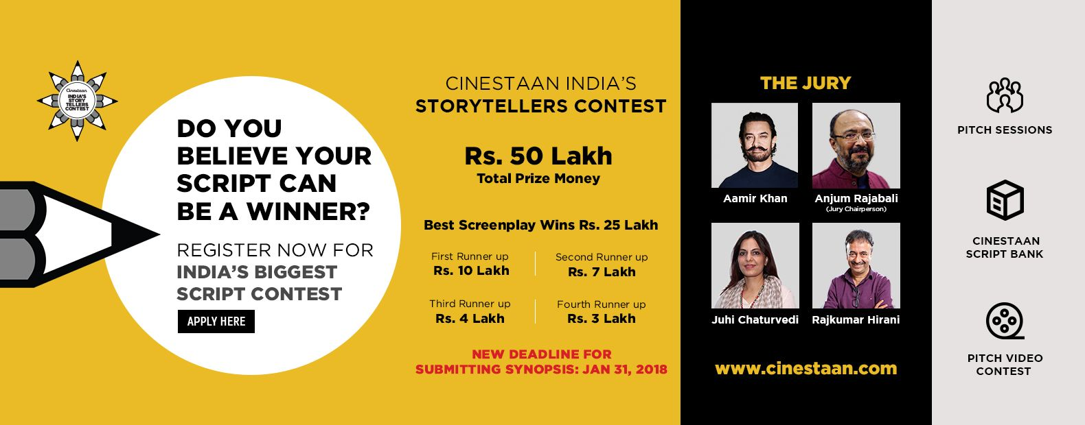 CINESTAAN INDIA'S STORYTELLERS CONTEST, RS. 50 Lakh Total Prize Money