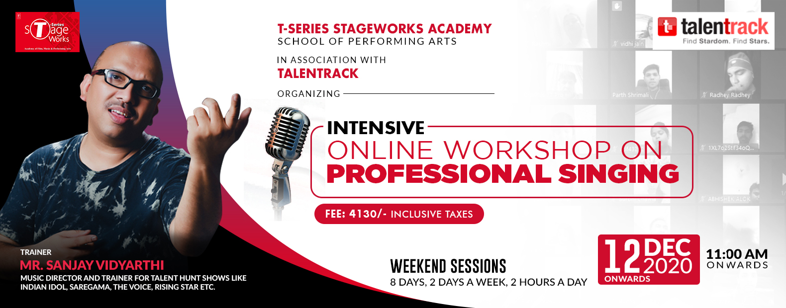 INTENSIVE ONLINE WORKSHOP ON PROFFESSIONAL SINGING, 28 NOV 2020 ONWARDS